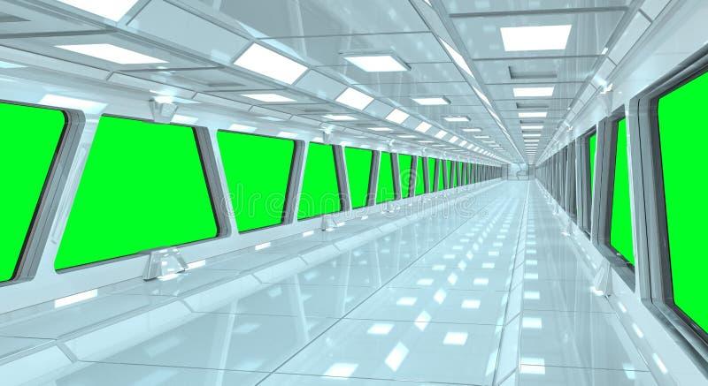 Representación blanca del pasillo 3D de la nave espacial stock de ilustración