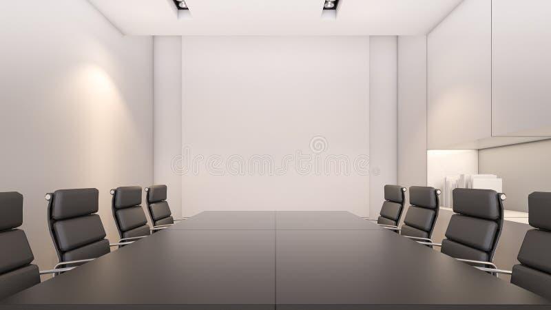 Representación blanca sala de reunión y mesa de reuniones/3D fotos de archivo