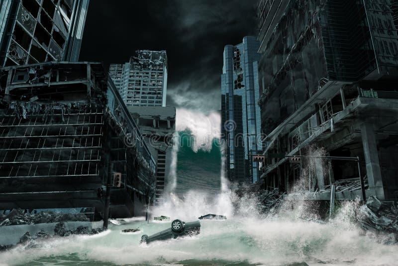 Representación cinemática de una ciudad destruida por el tsunami ilustración del vector