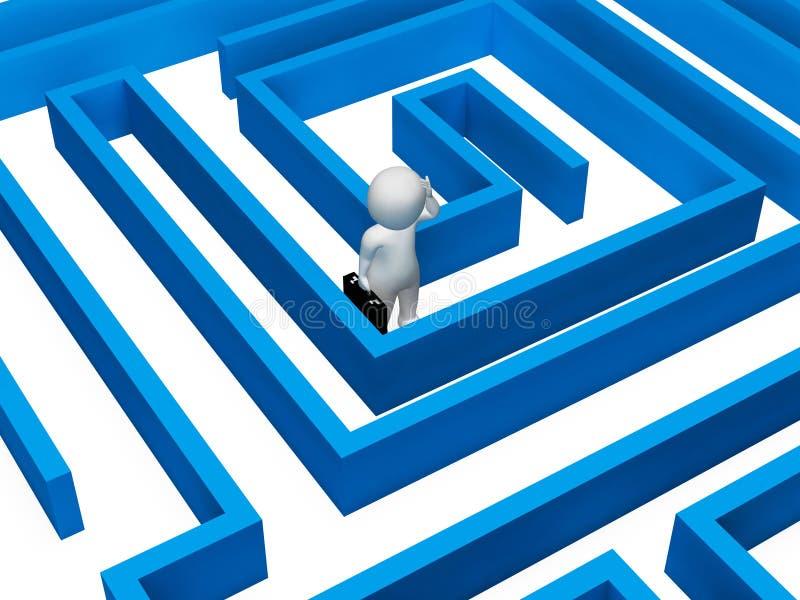 Representación confusa de la adversidad 3d de Maze Indicates Decision Making And stock de ilustración