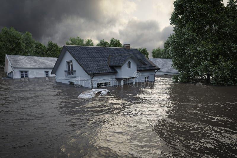 representación 3d casas de la inundación imagen de archivo