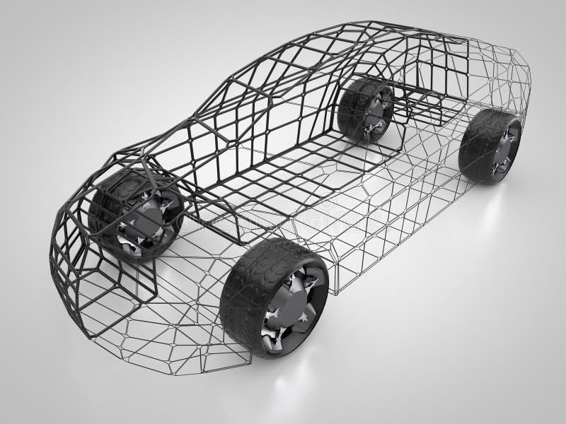 Representación 3D: Coche Y Bastidor Abstractos Stock de ilustración ...