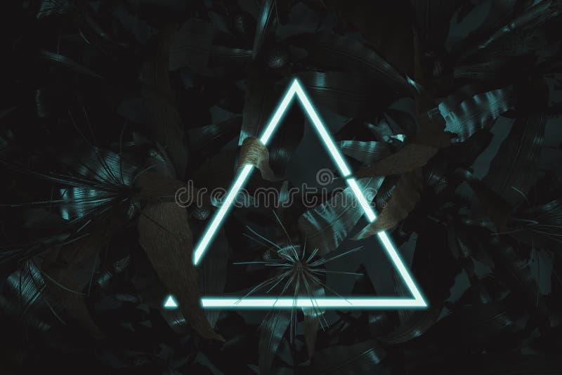 representación 3d de aligerar el triángulo de neón con las plantas de maíz Endecha plana del concepto m?nimo del estilo de la nat ilustración del vector