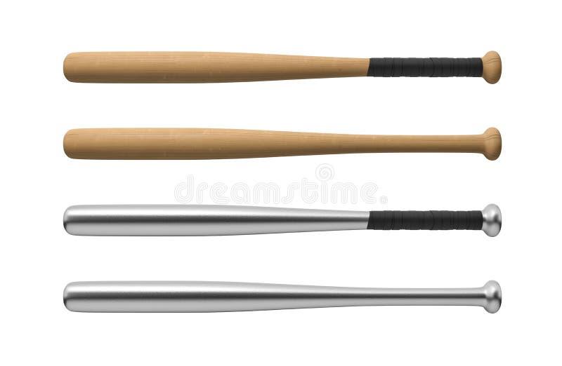representación 3d de cuatro bates de béisbol hechos de la madera y del acero, con y sin los manija-abrigos en la visión horizonta libre illustration