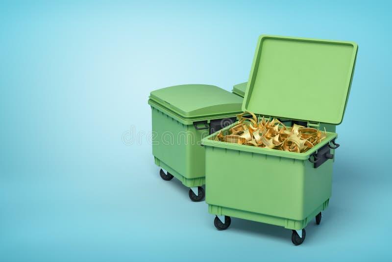 representación 3d de cubos de la basura verdes con las coronas de oro dentro en fondo azul ilustración del vector