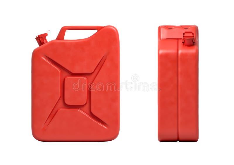 representaci?n 3d de dos latas rojas del gas, vista delantera y vista lateral, aislada en el fondo blanco ilustración del vector