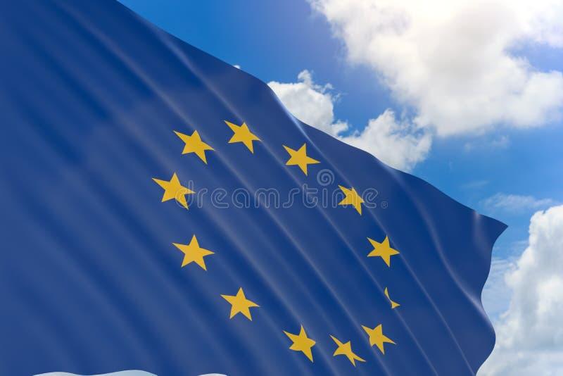 representación 3D de la bandera de unión europea que agita en el cielo azul ilustración del vector