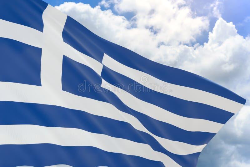representación 3D de la bandera de Grecia que agita en fondo del cielo azul ilustración del vector