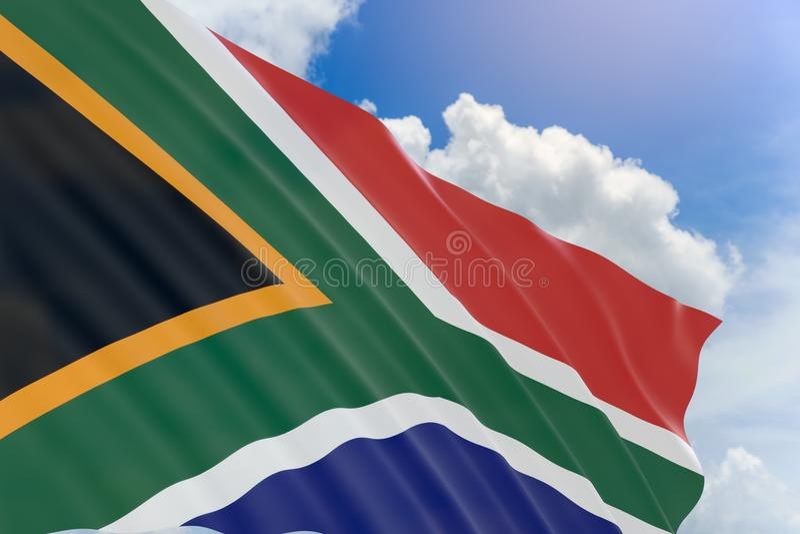 representación 3D de la bandera de Suráfrica que agita en fondo del cielo azul stock de ilustración