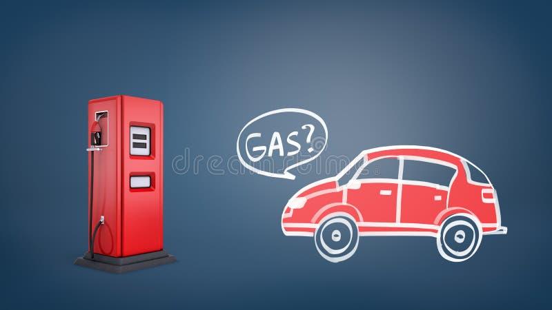 representación 3d de la bomba de gas roja cerca de un dibujo de un coche retro rojo con un gas de la palabra dentro de una burbuj imagen de archivo