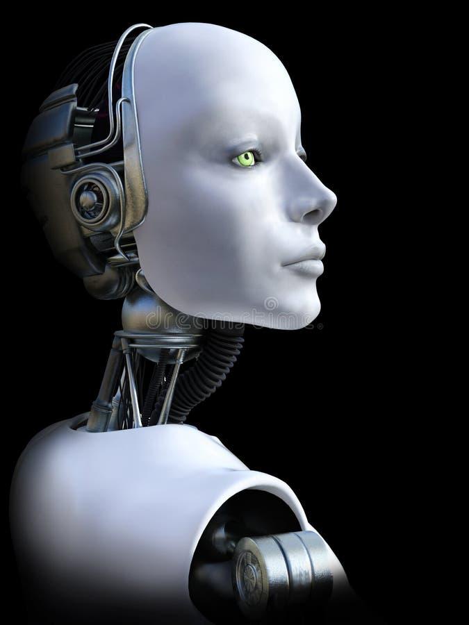 representación 3D de la cabeza femenina del robot ilustración del vector