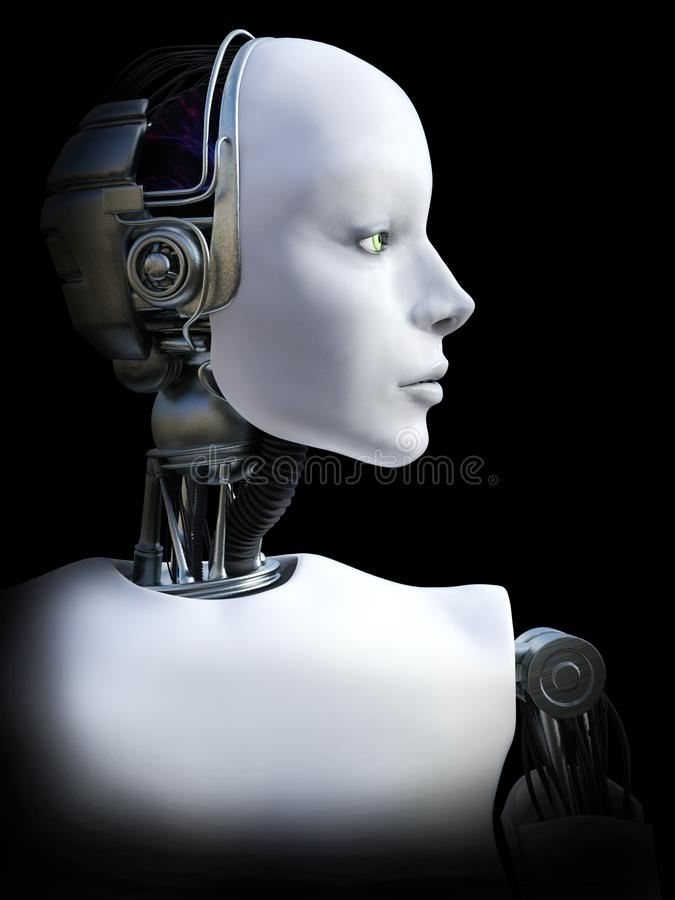 representación 3D de la cabeza femenina del robot libre illustration