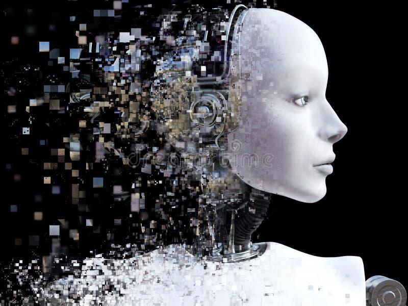 representación 3D de la cabeza femenina del robot que rompe ilustración del vector