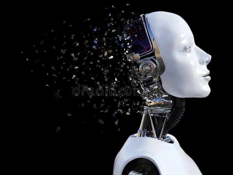 representación 3D de la cabeza femenina del robot que rompe libre illustration