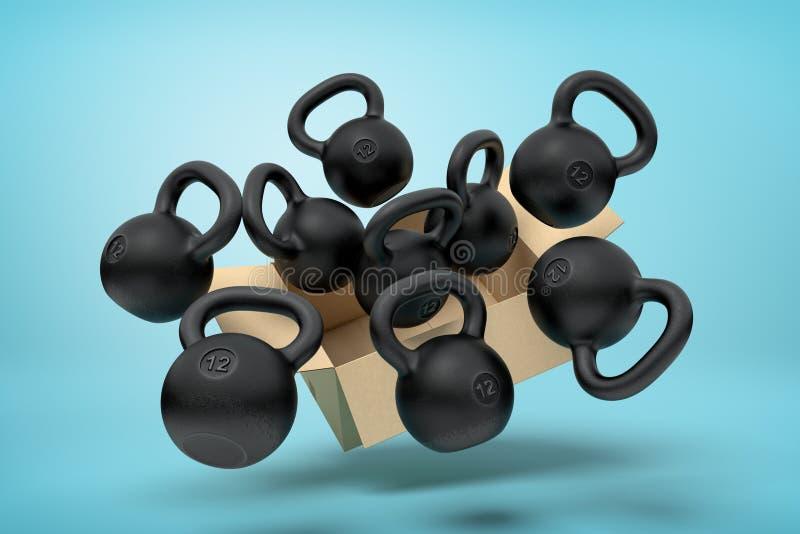 representación 3d de la caja de cartón en el aire lleno de varios kettlebells negros que están volando hacia fuera y están flotan stock de ilustración