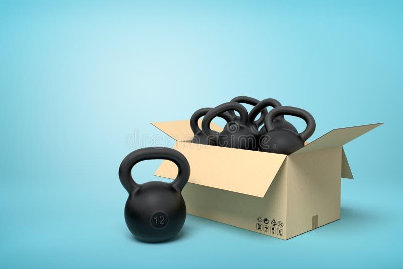representación 3d de la caja de cartón por completo de varios kettlebells negros en fondo azul stock de ilustración