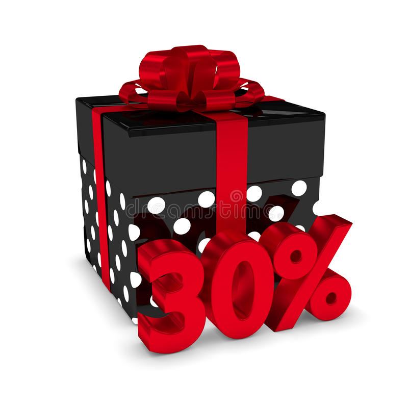representación 3d de la caja de regalo con el descuento del 30% sobre blanco libre illustration