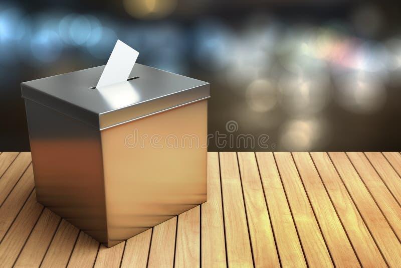 representación 3d de la caja de la elección del cromo del metal en los wi de madera de la tabla stock de ilustración