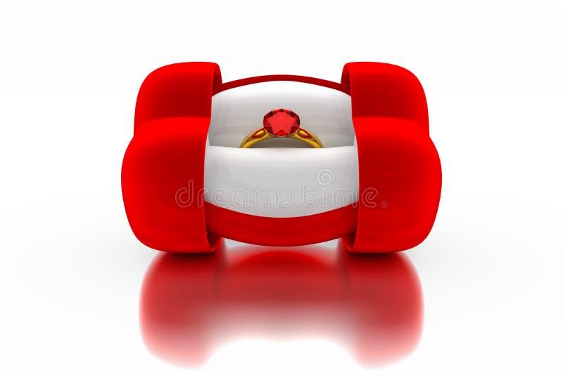 representación 3d de la caja en forma de corazón del anillo del terciopelo rojo con un oro libre illustration