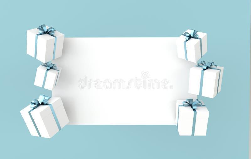 representación 3d de la caja de regalo blanca realista con el arco de la cinta azul y del Libro Blanco en fondo azul r stock de ilustración