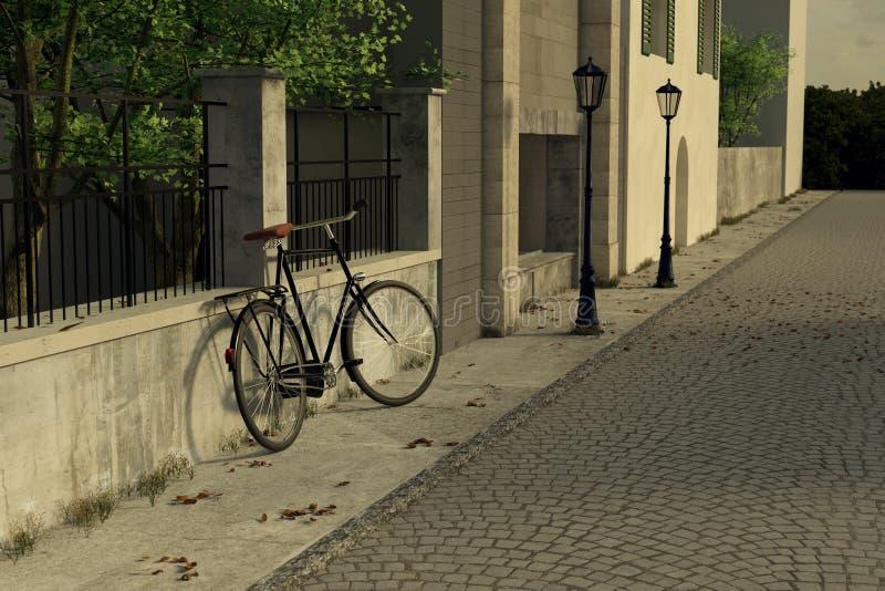 representación 3d de la calle vieja de la ciudad con la bicicleta y showcas que se inclinan stock de ilustración