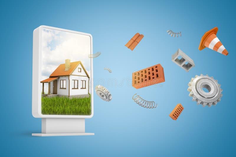representación 3d de la cartelera vertical con el cartel blanco de la casa y ladrillos rojos, ruedas de engranaje, muelles en esp ilustración del vector