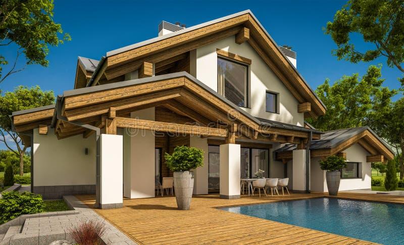 representación 3d de la casa acogedora moderna en estilo del chalet foto de archivo libre de regalías