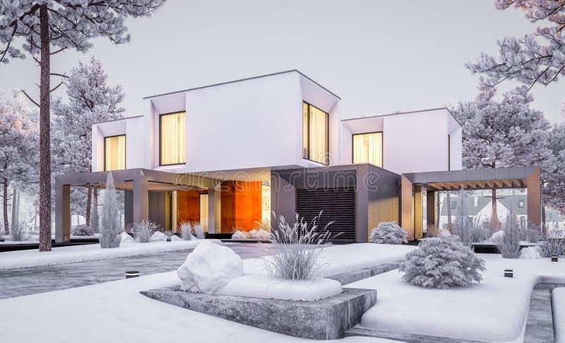 representación 3d de la casa moderna con el jardín por la tarde del invierno foto de archivo libre de regalías
