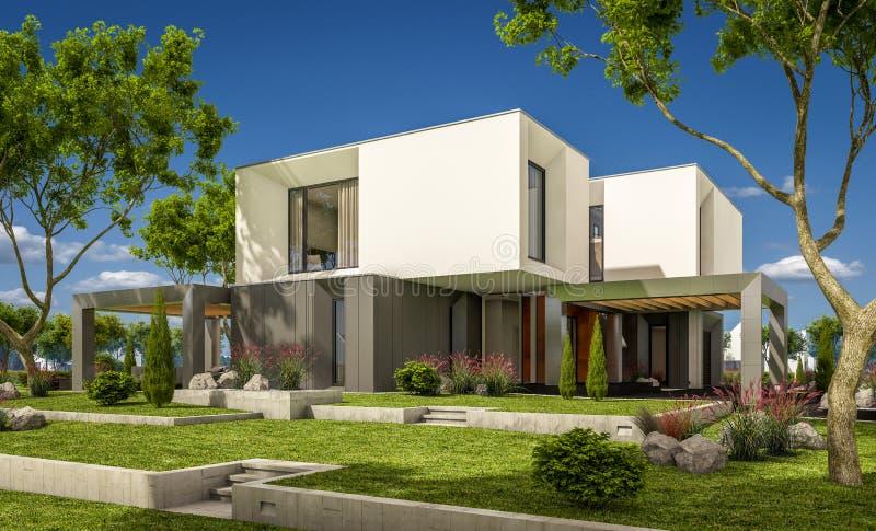 Representación 3d De La Casa Moderna En El Jardín Stock de ...