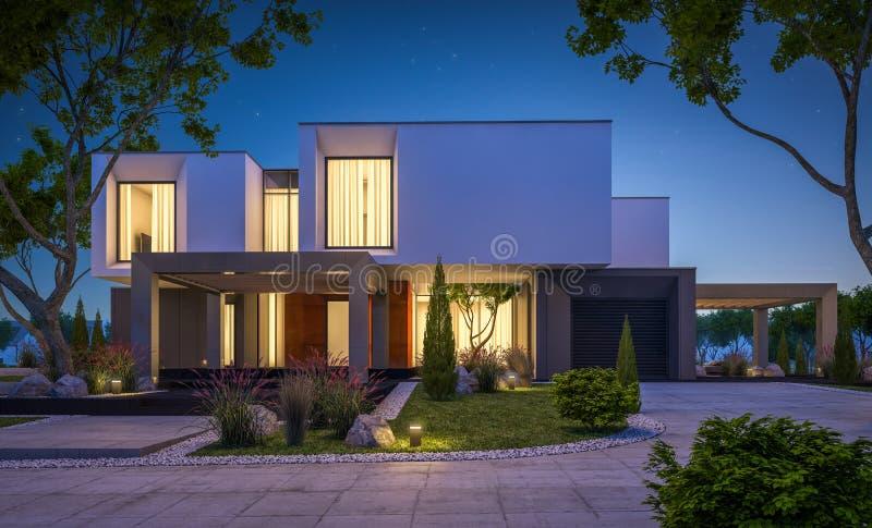 representación 3d de la casa moderna en el jardín en la noche fotos de archivo