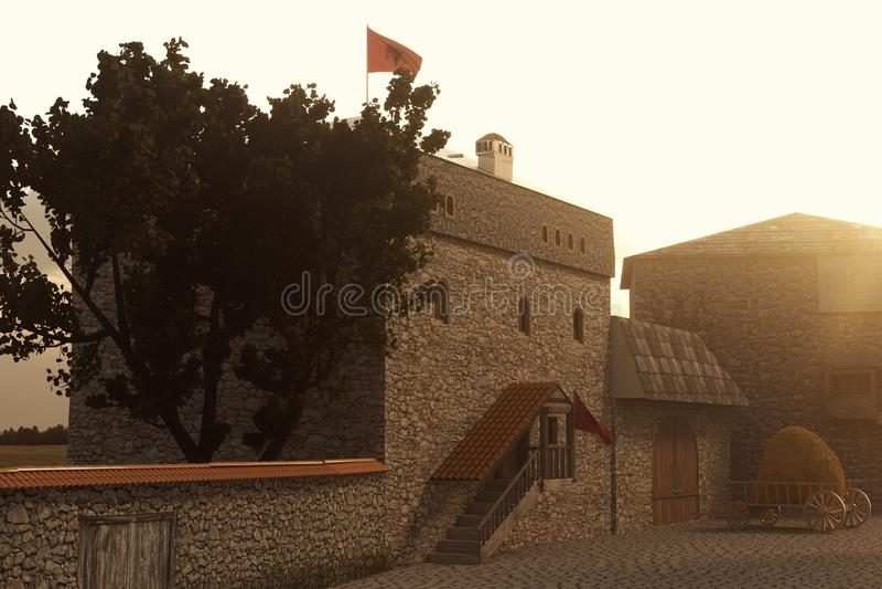 representación 3d de la casa tradicional de la torre de Kulla del albanés en el ev imagenes de archivo