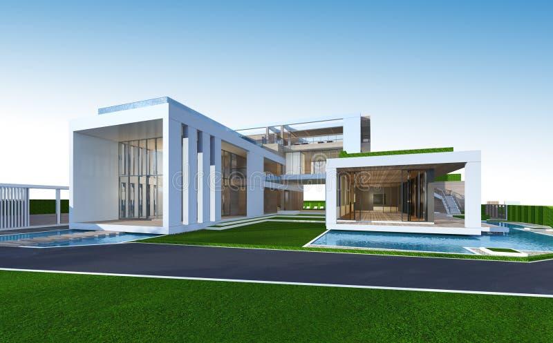 representación 3D de la casa tropical con la trayectoria de recortes libre illustration