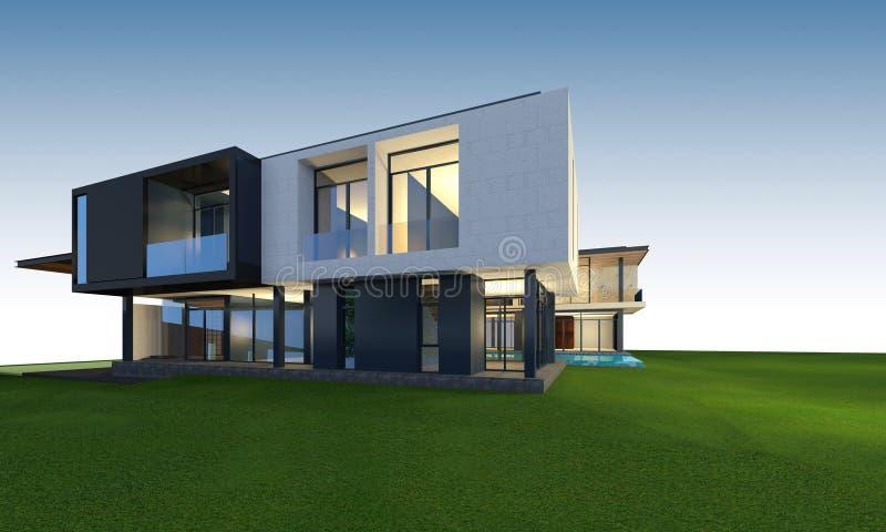 representación 3D de la casa tropical con la trayectoria de recortes stock de ilustración