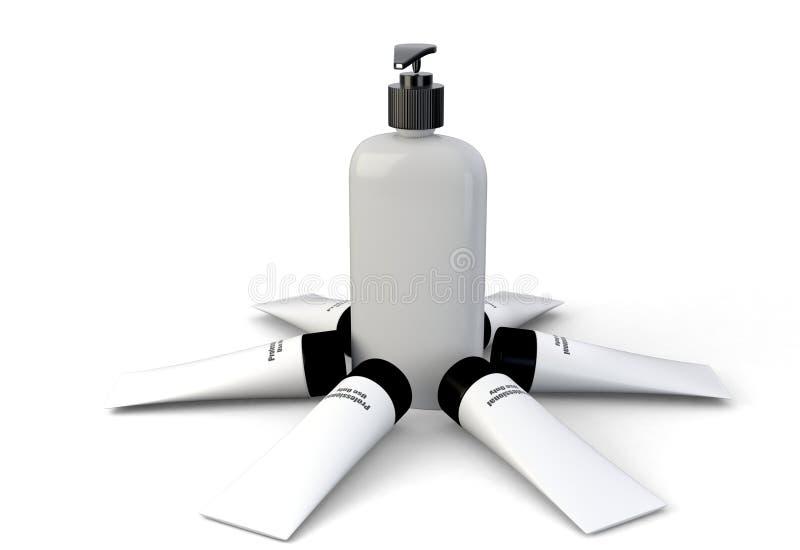 representación 3d de la colección de envases de la higiene de la belleza foto de archivo libre de regalías
