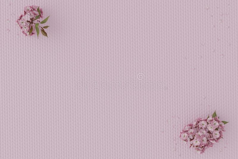 representación 3d de la flor de cerezo japonesa que pone en tela de algodón imágenes de archivo libres de regalías