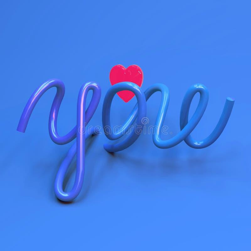 representación 3d de la mano que pone letras a amor de la palabra y a forma rosada iluminada del corazón ilustración del vector