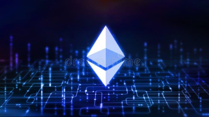 representación 3D de la moneda del ethereum ETH en fondo abstracto del organigrama del software de la programación informática libre illustration