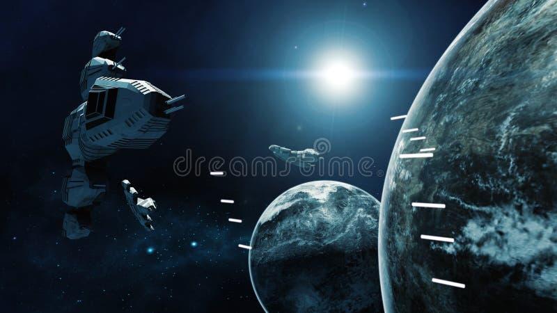 representación 3D de la nave espacial en batalla una escena cósmica stock de ilustración