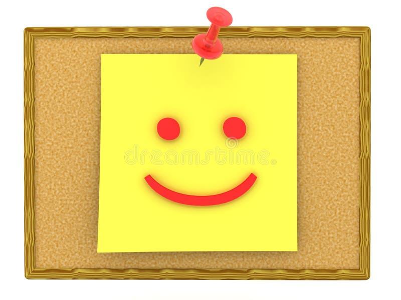 representación 3D de la nota pegajosa amarilla con el emoticon sonriente de la cara en él ilustración del vector