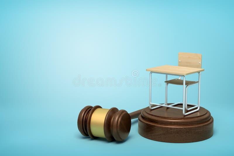 representación 3d de la pequeña situación del escritorio del solo asiento en bloque marrón de los sonidos con el mazo que miente  ilustración del vector