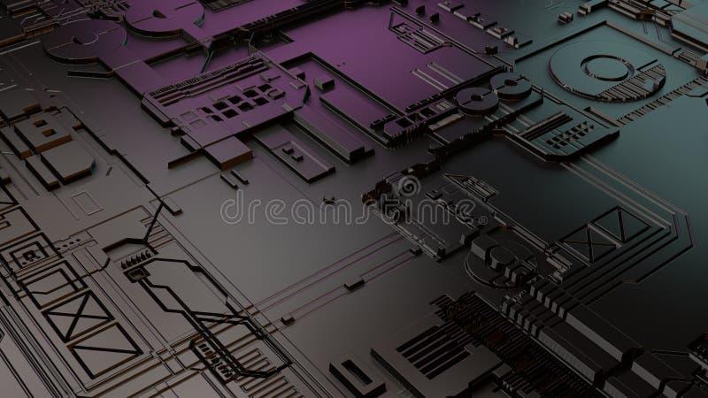 representación 3d de la placa madre moderna del teléfono o del ordenador portátil