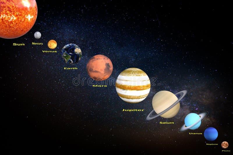representación 3d de la posición de los planetas y del sol de la Sistema Solar respecto a fondo cósmico de la oscuridad del unive stock de ilustración