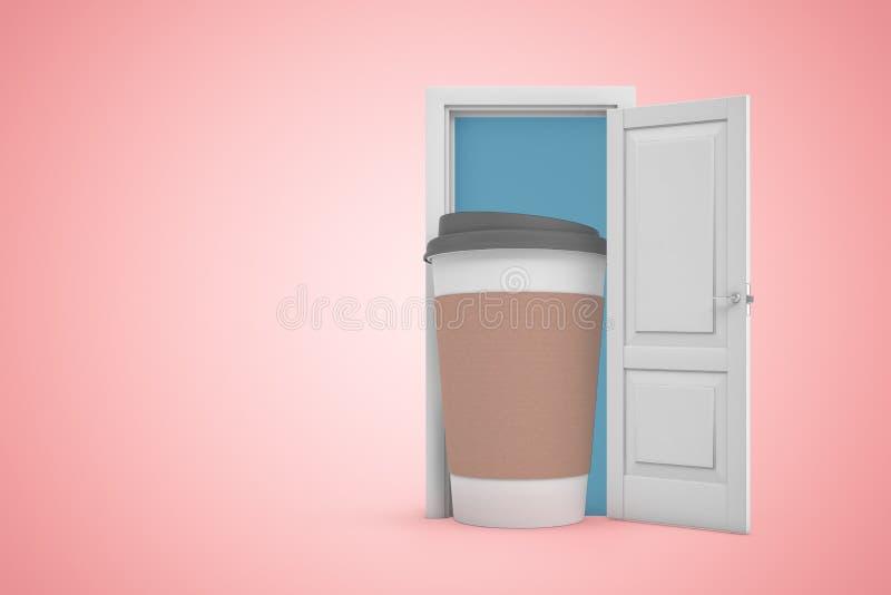 representación 3d de la puerta abierta en fondo del rosa de la pendiente y la situación grande de la taza de papel del cofee en e ilustración del vector
