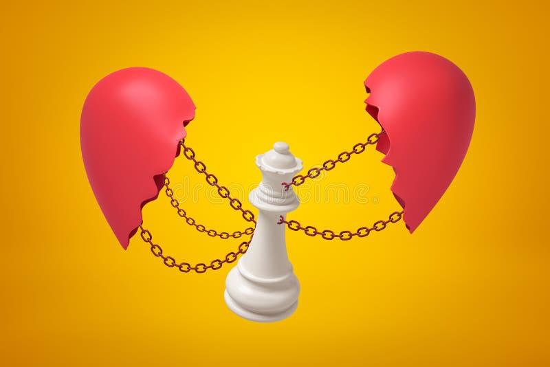 representación 3d de la reina blanca del ajedrez encadenada entre dos pedazos rojos quebrados del corazón en fondo amarillo ilustración del vector