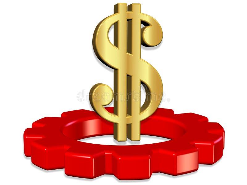 representación 3D de la rueda dentada con el dólar stock de ilustración