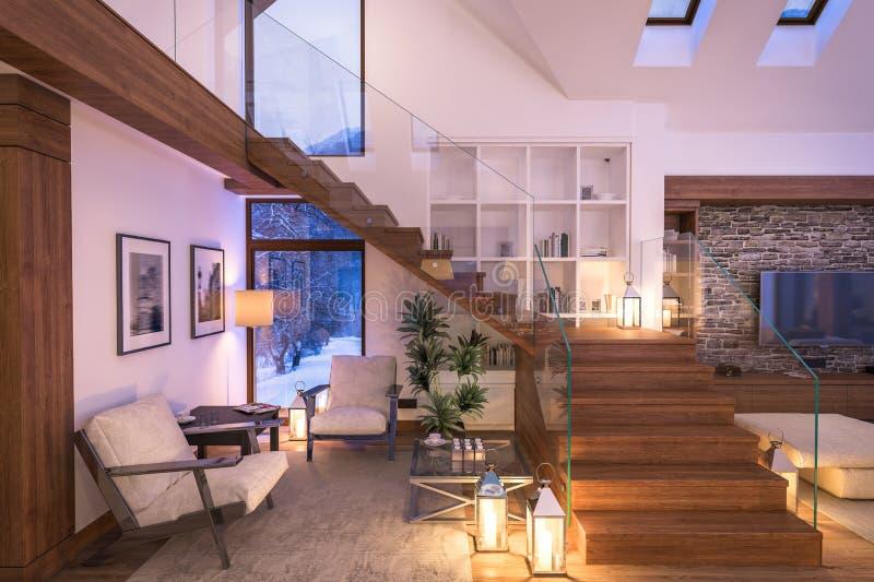 representación 3D de la sala de estar de la tarde del chalet imágenes de archivo libres de regalías