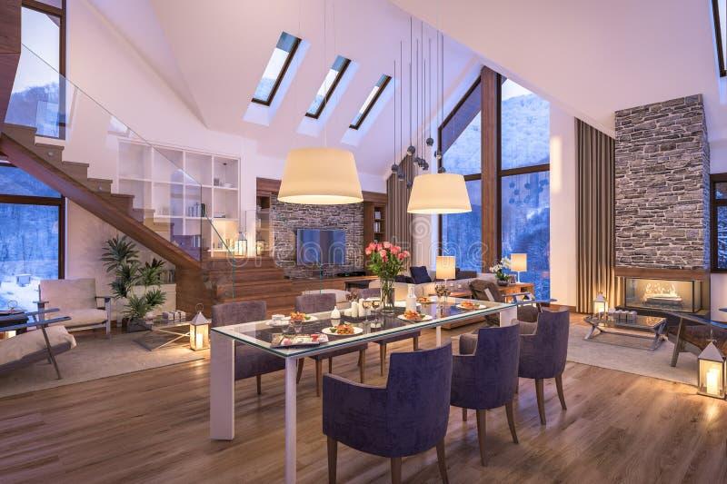 representación 3D de la sala de estar de la tarde del chalet foto de archivo