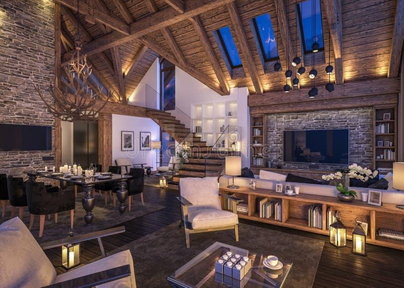 representación 3D de la sala de estar de la tarde del chalet fotos de archivo libres de regalías