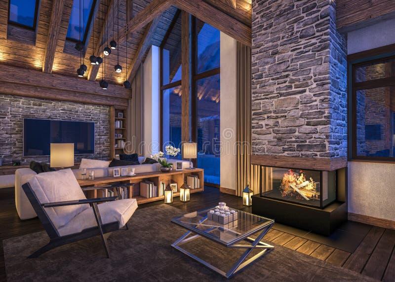 representación 3D de la sala de estar de la tarde del chalet foto de archivo libre de regalías