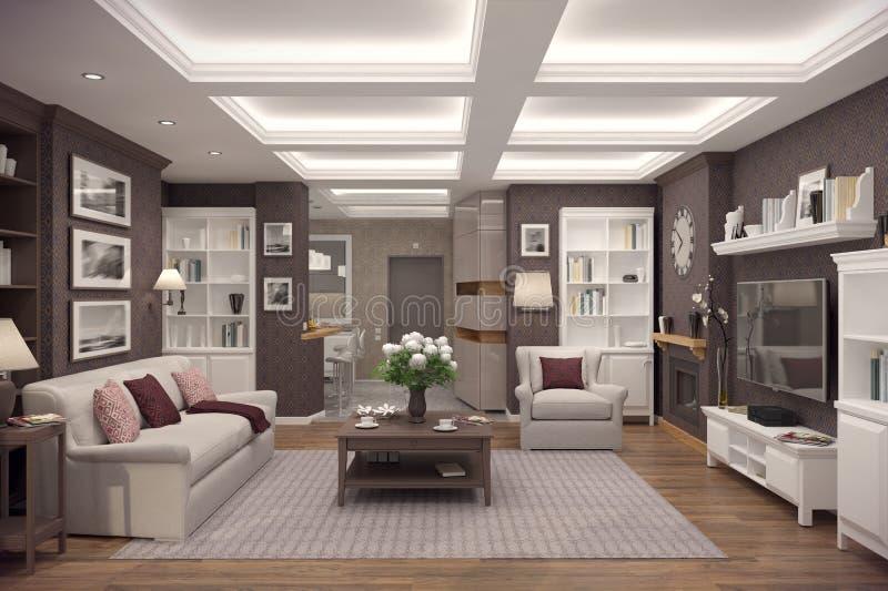 representación 3D de la sala de estar de un apartamento clásico imagen de archivo libre de regalías